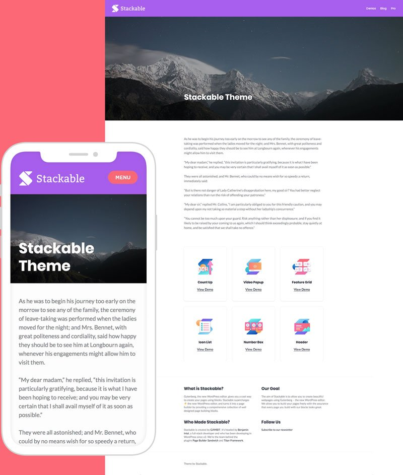 Get the Stackable WordPress Theme for Free