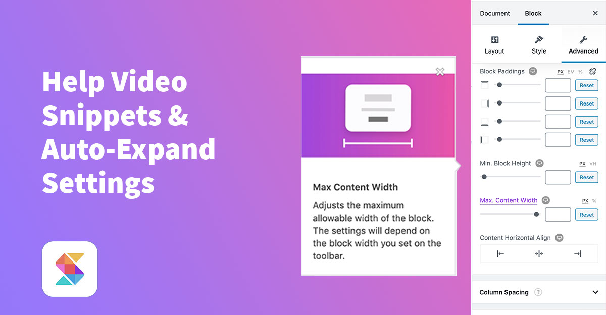 Help Video Snippets & Auto-Expand Settings