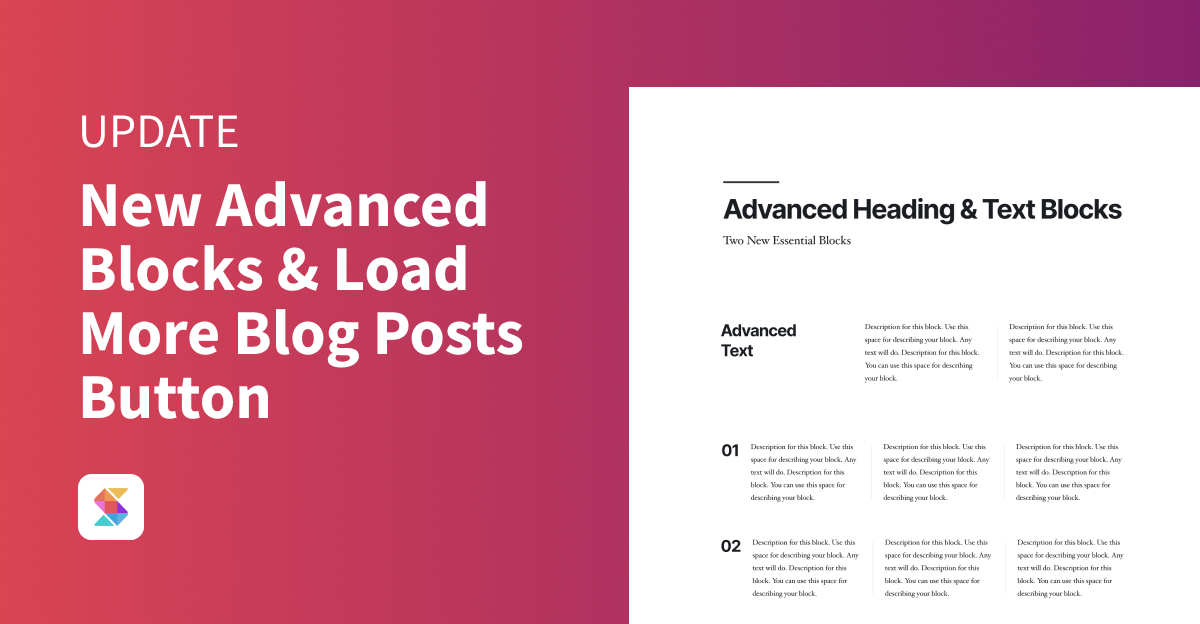 New Advanced Blocks and Load More Blog Posts Button