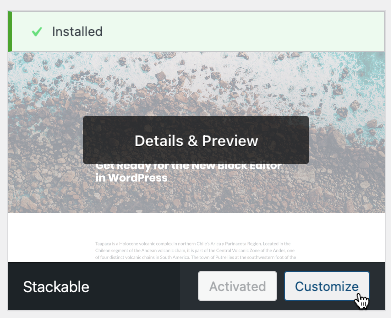 Activating the Stackable theme