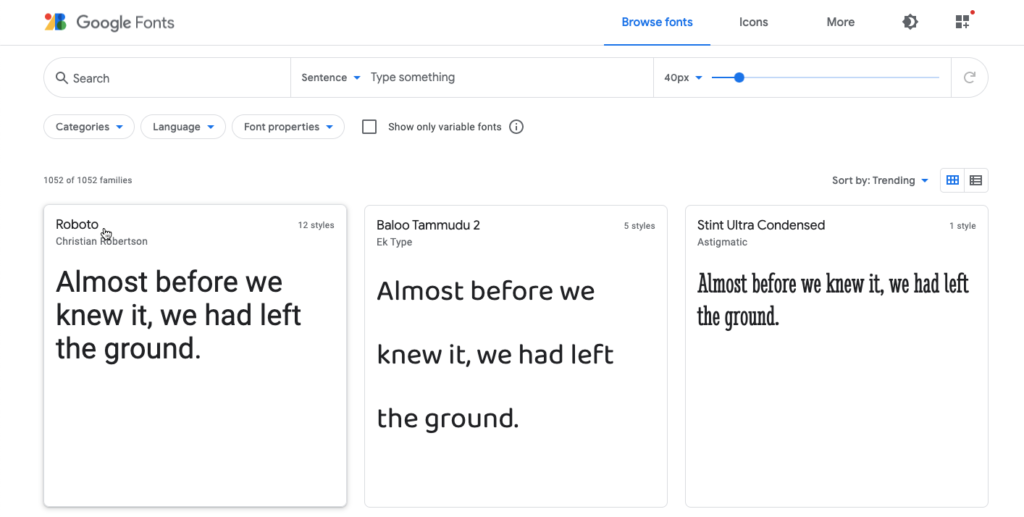 Selecting a font in the Google Fonts library
