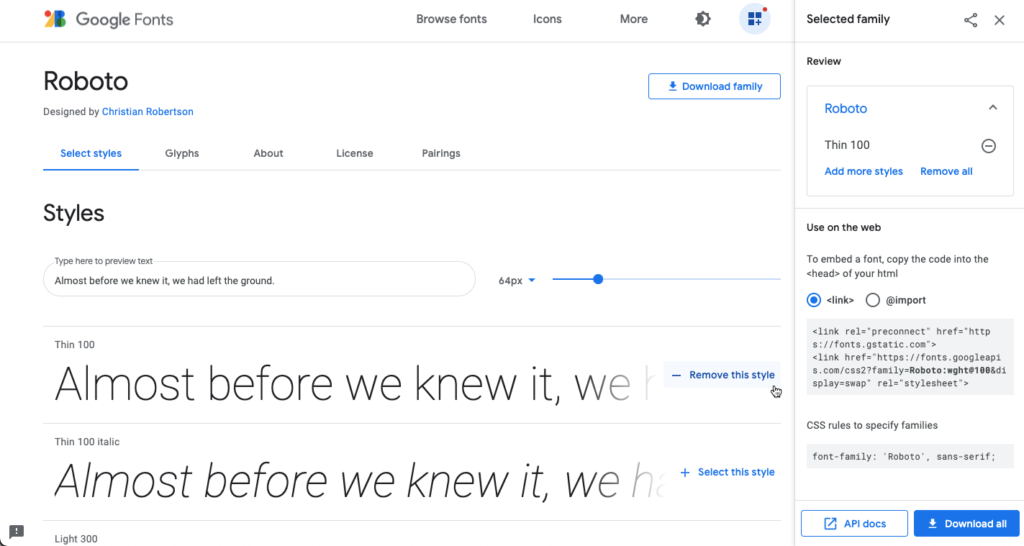 Selecting a font style in the Google Fonts library