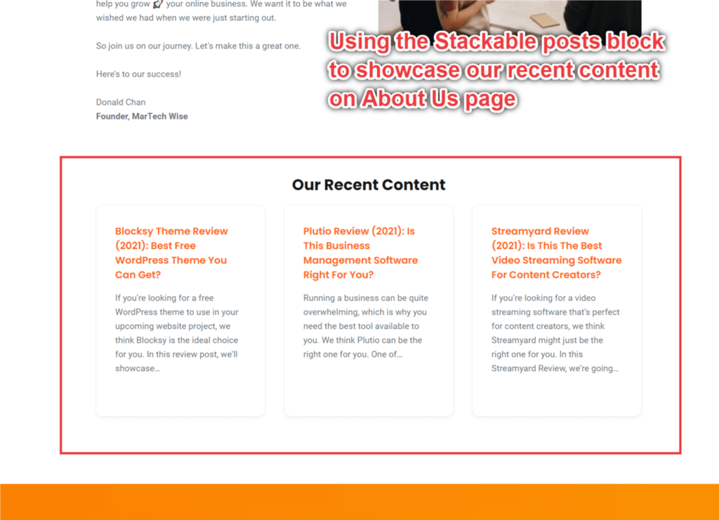 Screenshot of MarTech Wise using Posts block by Stackable, page builder Gutenberg blocks