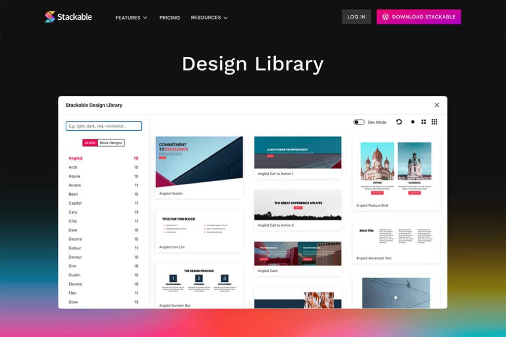 Design library from Stackable, page builder Gutenberg blocks